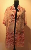 Gottex Womens Multi Color Leopard Tunic Coverup Blouse Size L ISRAEl