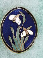 Fish & Crown Cloisonne Blue Enamel Oval Brooch Pin Snowdrop Flowers Floral
