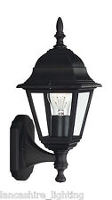 Stylish Black Outdoor Wall Light Lantern In Metal Finish With Glass Panels IP44