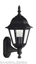 Elegante Nero Outdoor muro lanterna luce in metallo finitura con pannelli di vetro IP44