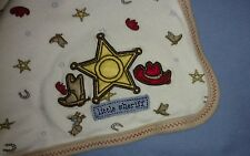 Carters Little Sheriff Baby Blanket Just One Year Blue Cowboy Hat Boots Badge