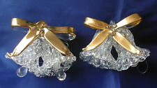 2 Vintage 1960s Hand Made Glass Christmas Ornaments Spun Glass Bells/gold bows