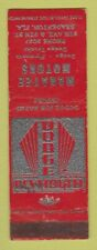 Matchbook Cover - Manatee Motors Dodge Plymouth Bradenton Fl Wear