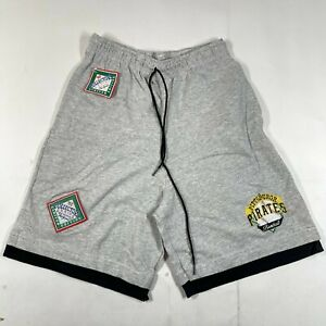 Vintage Pittsburgh Pirates Gym Shorts Mens M Gray Embroidered Cotton The Game