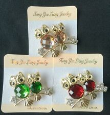 New Vintage Rhinestone Double owl Acrylic Brooches For Women Pin Crystal Broches