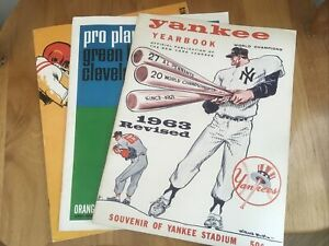 1963 Rev Yankees YB, 1964 Green Bay Vs Cleveland Program, 1965 Cardinals Vs GB