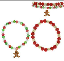 CHRISTMAS RED GREEN GINGERBREAD STRETCH CRYSTAL DANGLE CHARM SET OF 2  BRACELET
