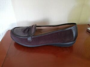 Hotter Alice ladies chocolate suede slip on loafer shoes Size 8 UK /40 EU
