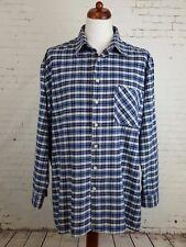 Vintage 1990 S Bleu Plaid Carreaux Chemise en flanelle Skater Hipster Grunge - 2XL/3XL - EJ74
