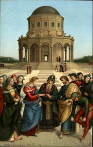 Religious Raffaello Sanzio The Marriage Of The Virgin Raphael Milan Postcard