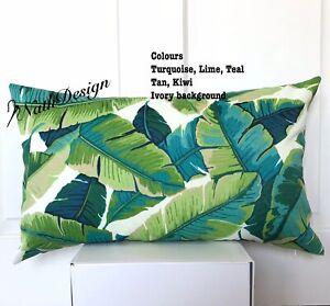 Green and Turquoise Tropical Banana Leaf lumbar Cushion  Cover