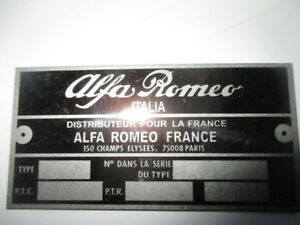 Nameplate s39 Alfa Romeo France Montreal Giulietta Bertone Gta Giulia