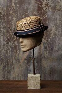 Jake Black Brim with Natural Straw Men's Women's Summer Retro Straw Porkpie Hat