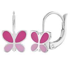 925 Sterling Silver Pink Enamel Butterfly Dangle Earrings for Girls or Teens