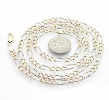"""24"""" Diamond Cut Pave Figaro Chain Necklace Real 14K Yellow White Rose Gold"""