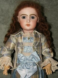 "20"" Tete Jumeau~Blue Pwt Eyes~Perfect Bisque~Silk Dress~Signed Head & Body"
