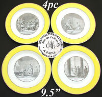 "Antique French Creil Faience 4pc 9 5/8"" Cabinet Plate Set, ""Histoire Romaine"""