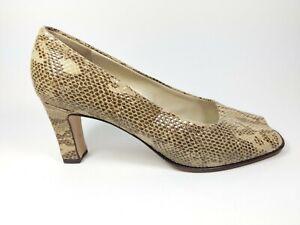 Peter Kaiser Snake Print Leather High Heel Open Toe Shoes Uk 7.5