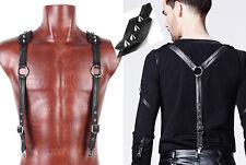 Bretelles gothique punk steampunk cuir patiné argent clous spike Punkrave Homme