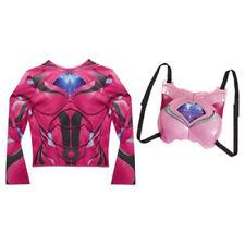 POWER RANGERS DRESS UP SHIRT & LIGHT UP CHEST ARMOR SIZE 4-7X  - Pink