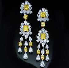 9Ct Princess Canary Yellow Simulant Diamond Chandelier Earrings Silver Gold FNSH