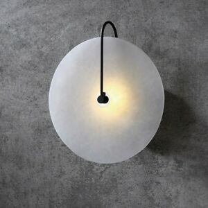 Modern White Marble Indoor Wall Sconce Bedroom Round LED Wall Light Fixture