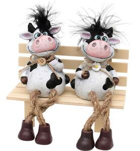 Kantensitzer SET Kühe - 2 Stück Kantenhocker mit Schlenkerbeinen in Set - 2x Kuh