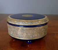 MOSER Cobalt Blue Lidded Glass w/Gold Warrior Scene Frieze, early 1900's Perfect
