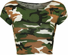 Camouflage Short Sleeve Crop Tops for Women