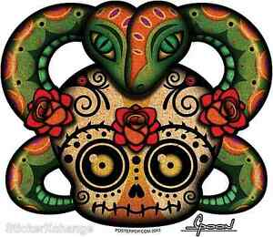 Rose Snake Sugar Skull Sticker Decal Chico Von Spoon CVS7