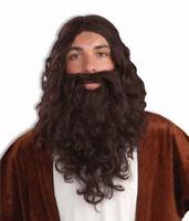 Biblical Jesus Pirate Man Wig Costume Full Beard & Mustache