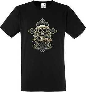 T Shirt Schwarz Totenkopf Gothik Skull-&Tattoomotiv Modell Celtic Cross Skull