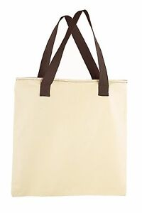 """Mato & Hash 17""""X17"""" Blank Cotton Canvas Activity Arts and Craft Tote With Zipper"""