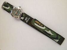 CHILD'S BOYS ARMY WATCH CAMO CAMOUFLAGE RIP STRAP GREEN R1507.05