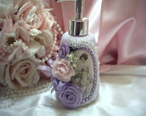 Shabby Victorian Chic Lotion/Soap Dispenser~LAVENDER~Fischer PORTRAIT~Roses~OOAK