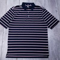 Footjoy FJ Golf Polo Shirt Mens Large Blue Stripe Performance Short Sleeve P138