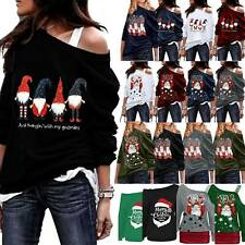 Women's Christmas Jumper Pullover Loose Sweatshirt Ladies Xmas Dress Blouse Tops