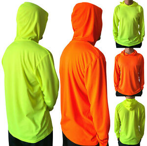 2pcs Hi Vis High Visibility T Shirt Long Sleeve Safety Work Tee Shirts With Hood