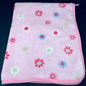 Gerber Pink Baby Blanket Flowers Floral Plush Lovey Security Multi Blue Green