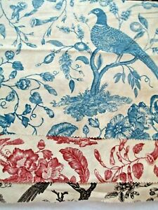 """FABRIC Red Rooster """"Bird of Paradise"""" NEW Toile Sampler 3 Pieces & Colors $5.50"""