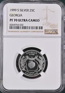 1999 S SILVER 25C Georgia State Quarter NGC PF 70 Ultra Cameo
