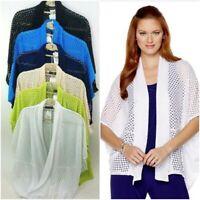 Slinky Brand Crochet Cocoon Jacket Open Shawl Collar Pic Colors & Sz XS-L 497706