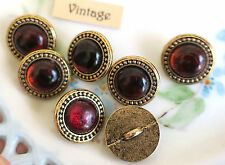 #831GG Vintage Glass buttons Red Rhinestone Brass Base Shank Button garnet