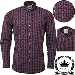 Relco Mens Burgundy Wine Floral Style Long Sleeve Shirt Button Down Collar Mod