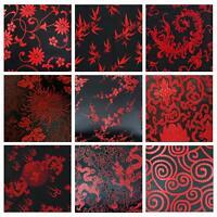 Faux Silk Brocade (Black Background) Jacquard Damask Kimono Fabric Material BL23
