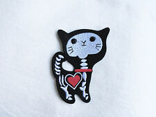 1x Kitty Skull patch Heart cat X-ray skeleton black Iron On Embroidered Applique