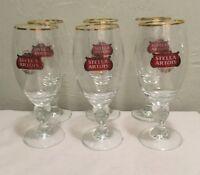 Beer Glass Authentic Stella Artois Original Gold Rim  Chalice 40CL Set of 6