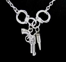New Handcuffs Pistol Gun Bullet Charm Pendant Silver Chain Necklace