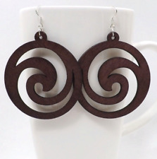 Good Quality Wood Earrings Organic Round Flower brown Hollow African Woman