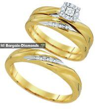 diamond .14 carat 3-ring bridal 10K gold engagement wedding band bride groom set